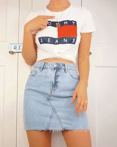 These are 3 outfit ideas with skirts suitable for warm spring weather or summer.🧡 If you'd like to know from where I got any of these clothes just ask. White Ripped Jeans, Black Skinny Pants, Jean Skirt Outfits, Jeans Dress, Demin Skirt Outfit, Denim Shorts, Tumblr Outfits, Girl Outfits, Fashion Outfits