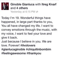 Email message from Gianluca Ginoble to thank his fans on February 11, 2014  ⭐️IL VOLO⭐️