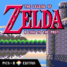 """Chris Donnelly brilliantly adapted the """"Zelda - A Link to the Past"""" OST with Pico-8 limitations. You can listen to it here.I helped by building this little """"titlescreen"""" still with the Pico-8 limitations (128x128 px, 16 unique colors). Nothing to be really proud of, because I mostly modified the original SNES titlescreen's background, same with the GBC logo from Links Awakening. But that was fun to do :)"""