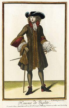 """1687 French Fashion plate """"Recueil des modes de la cour de France, 'Homme de Qualité'"""" at the Los Angeles County Museum of Art, Los Angeles"""