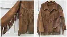 70's Suede Leather Fringe Jacket Brown Boho by ElkHugsVintage