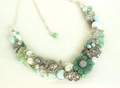 Mint Green Bridal Bib Necklace Mint Statement by BrassBoheme, $130.00