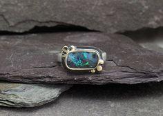 Boulder Opal 14k Gold & Sterling Silver Ring