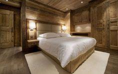 berghütte design holz wand kopfteil leder rustikaler stil