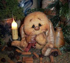 "Primitive Fuzzy Bunny Rabbit 5"" Easter Spring Doll Vtg Patti's Ratties Hare Bear - How precious!"
