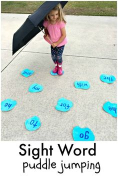 Puddle Jumping Sight Word Game for preschool and kindergarten spring reading fun! Puddle Jumping Sight Word Game for preschool and kindergarten spring reading fun! Kindergarten Learning, Toddler Learning Activities, Fun Learning, Preschool Activities, Teaching Kids, Preschool Behavior, Teaching Toddlers Letters, Outdoor Activities For Preschoolers, Preschool Literacy Activities