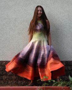 Принцесса Урожая, валяное платье в технике нунофелтинг - валяное платье
