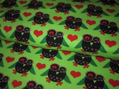 "Organic stretch jersey ""Wonder Owl""  with sweet owls in black-red-green-purple on lime-green background    Design Janeas World, all rights reserbed..."