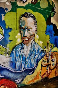 """PAINTER VINCENT VAN GOGH"" Street Art in VANCOUVER, CANADA"