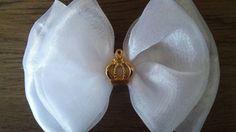 Laço duplo de organza(tiara ou bico de pato)