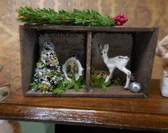 Ooak miniature dollhouse Christmas shelf with by Mosswayminiatures
