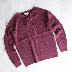 all tied up lace-up front sweater - maroon