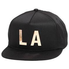 3a135f0c984d8 LA Snapback Hat Black   Gold