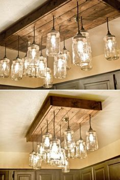 Mason Jar Wood Pallet Chandelier The Light Fixture