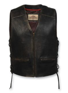 Milwaukee Motorcycle Clothing Company XXX-Large Men's Distressed Leather Lined Vest with Side Lace $101.97