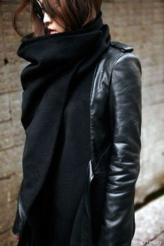 Big black scarf.