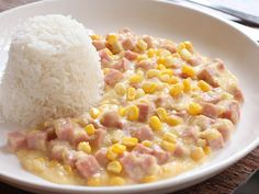 Spam with Cream Corn Sauce over Rice