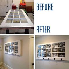 How to DIY Repurpose an Old Door into a Picture Frame and Coat Hanger / iCreativeIdeas.com