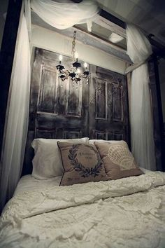 @Holly Elkins Tharp wouldn't it be cool to secure the ladder like that over the bed with drapes and a chandelier?! :D