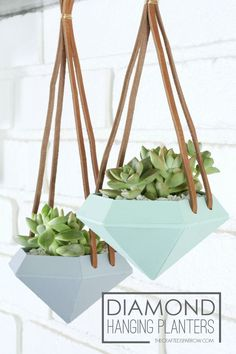 Amazing Home Decor DIY projects for the weekend or anytime! - DIY home decor - DIY Projects Diy Hanging Planter, Diy Planters, Planter Ideas, Planters Flowers, Paper Succulents, Small Succulents, Hanging Baskets, Clever Diy, Cool Diy