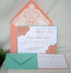 Coral n Tiffany Blue Turquoise Wedding Invitation w Doily Lace Envelope & Elegant Doily Details Shabby Chic. Invitaciones Shabby Chic, Shabby Chic Invitations, Coral Wedding Invitations, Lace Wedding Invitations, Doily Invitations, Invitation Ideas, Invites, Trendy Wedding, Our Wedding