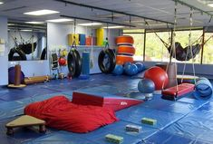 Check out our big gym where we do swinging, climbing, obstacle courses, and so much more! With our large, open space, we can work on a variety of goals, including improving core strength, postural control, body awareness, motor planning, and sensory modulation.