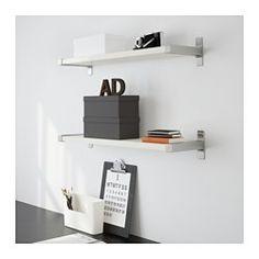 IKEA - ЭКБИ ЕРПЕН / ЭКБИ БЬЕРНУМ, Полка навесная, белый/алюминий, , Консоль прикрывает край полки; полку можно отрезать, и срез не будет виден.