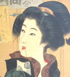 Vintage Japanese Print Bijinga Ukiyoe by VintageFromJapan on Etsy, $10.00
