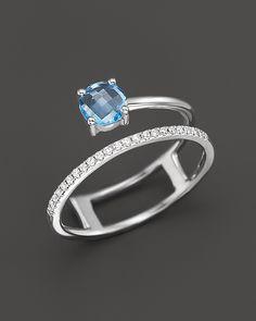 verrry interesting. Blue Topaz and Diamond Ring in 14K White Gold