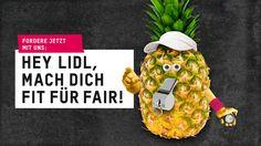 """Hey Lidl, mach Dich fit für fair! Make Fruit Fair!  Oxfam setzt sich im Rahmen der internationalen Kampagne """"Make Fruit Fair!"""" für die Umsetzung von Sozial- und Umweltstandards im Handel mit tropischen Früchten ein."""