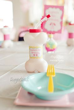 Fun place settings at a Puppy Birthday Party!  See more party ideas at CatchMyParty.com!