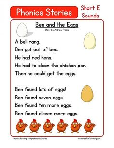 This Reading Comprehension Worksheet - Ben and the Eggs is for teaching reading comprehension. Use this reading comprehension story to teach reading comprehension. Phonics Reading, Reading Comprehension Worksheets, Teaching Phonics, Reading Passages, Kindergarten Reading, Teaching Reading, Preschool Learning, Learning Activities, Word Reading