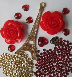 W34 Eiffel Tower Red Flower 3D DIY Phone Case Cover  Alloy Crystal -Deco Den Kit