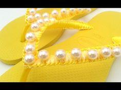 chinelo bordado manta de pérolas amarelo ouro - YouTube