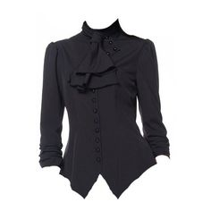 Black Steampunk Gothic Steampunk Blouse Top by Chicstar ($35) ❤ liked on Polyvore featuring tops, blouses, shirred top, ruched blouse, ruched top, gothic tops and steampunk blouse