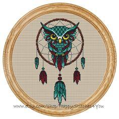 Cross Stitch Pattern PDF owl dream catcher by HappyStitches4You