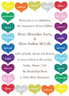 """Cancer Cures Collection  The Color of Love  Party Invitation  6 3/4"""" x 4 7/8""""  Full Color as shown  $26.00 for 16 Invitations"""