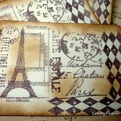 paris hand made cards ideas | Postcards from Paris-3 Vintage Style Hand Made Double Sided Post Cards ...