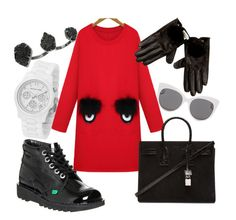 """""""Little Red Dress"""" by kyalouise on Polyvore featuring Kickers, Blanc & Eclare, Michael Kors, Yves Saint Laurent, River Island and Kendra Scott"""
