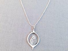 Silver Owl Portrait Necklace