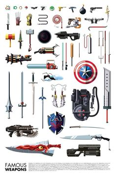 Famous Weapons - A gallery-quality illustration art print by Daniel Nyari for sale.