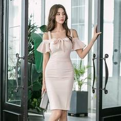 Women Spaghetti Strap Wrap Bodycon Dress Off-shoulder Midi Sexy Party Dress True Style Never Dies Blush Dresses, Cute Dresses, Beautiful Dresses, Casual Dresses, Fashion Dresses, Short Sleeve Dresses, Summer Dresses, Womens Dress Suits, Vetement Fashion