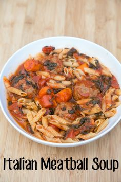 Italian Meatball Soup Recipe ~ a delicious spaghetti and meatballs recipe in soup form from 5DollarDinners.com