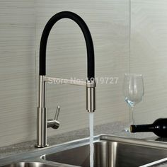 Newly Patent Design 360 Swivel 100% Solid Brass Single Handle Mixer Sink Tap Pull Out Down Kitchen Faucet In Brushed Nickel