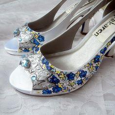 Wedding Shoes Silver tiara blue delphiniums by norakaren on Etsy, $295.00
