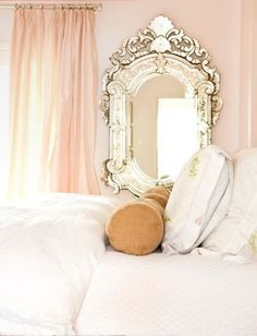 interior, vintage mirrors, mirror mirror, bedroom decor, soft pink