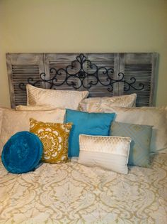 Shutter headboard DIY idea i like the added iron piece