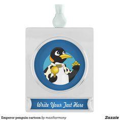 Emperor penguin cartoon silver plated banner ornament