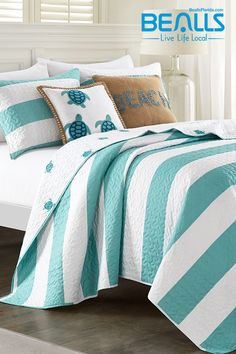Turn your bedroom into a coastal paradise with this bedding set, featuring a seaside-friendly print. Every season is beach season at Bealls Florida! Home, Bedroom Design, House Beds, Bed, Comfortable Bedroom, Beach Cottage Decor, Beach Themed Bedroom, Beach Style Bedroom, Beach Bedding