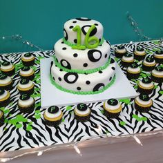 b31146a7b3 Sweet 16 cake and cupcakes - black and white with lime green